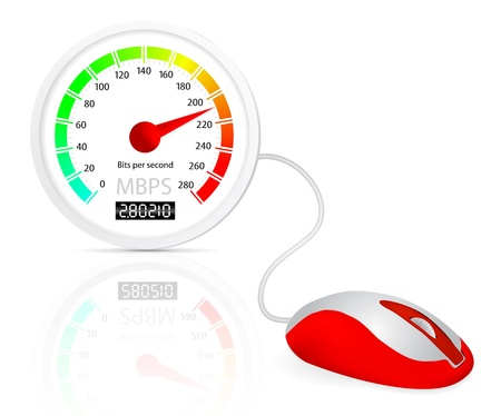 Computer mouse connected to a speedometer Stock Vector - 10954691