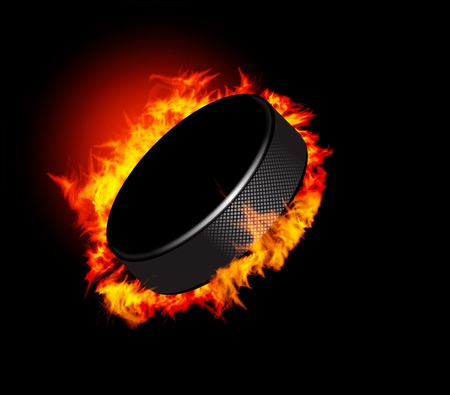 hockey puck: Hockey Puck in Fire isolated on Black Background. Vector.