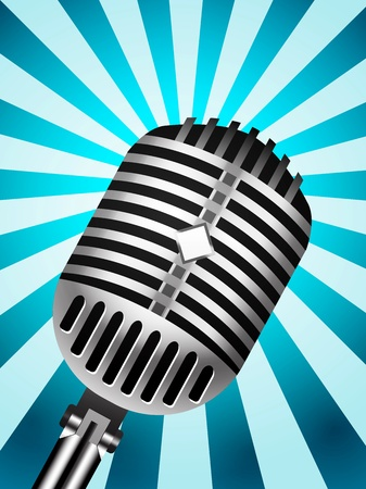 oldie: Classic Microphone on lined background Illustration