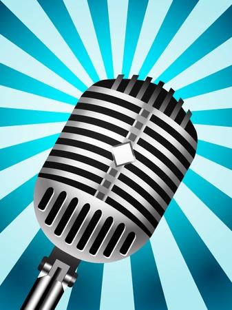 mic: Microfono classico su sfondo alberato