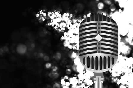 vintage microphone on stage Vector