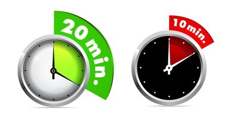 cronógrafo: 10 y 20 minutos temporizador Vectores