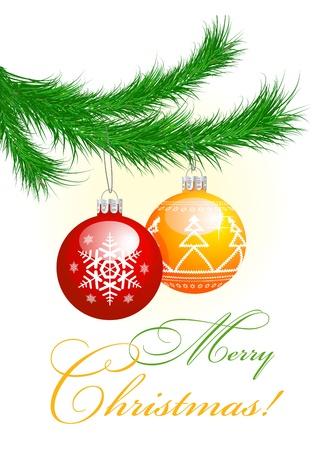 muerdago navideÃ?  Ã? Ã?±o: Árbol de navidad y las bolas Vectores