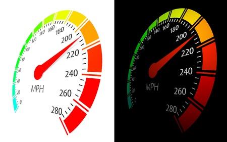chilometro: Tachimetro vettore in prospettiva vista Vettoriali