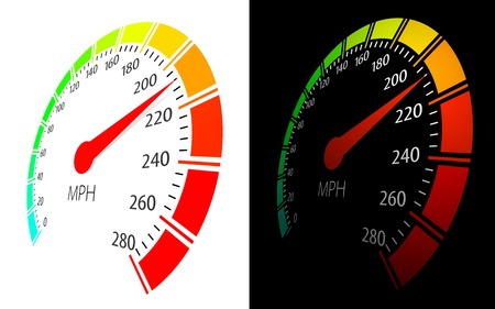 car dashboard: Vector speedometer  in perspective view