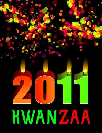 kwanzaa: kwanzaa candles lightning on the black background