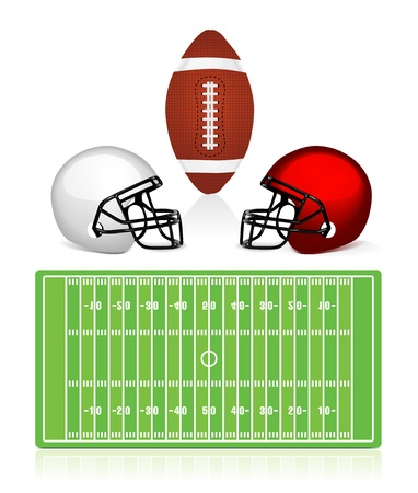 man in field: american football field, ball and helmet Illustration