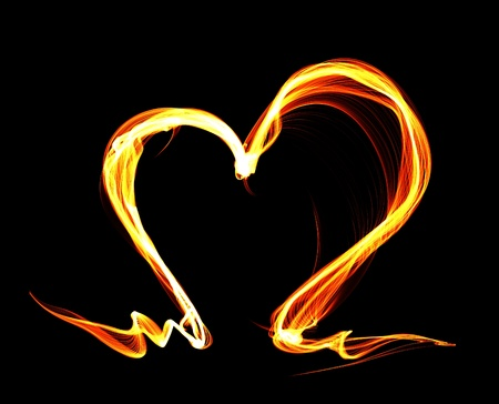 red love heart with flames: Fire heart