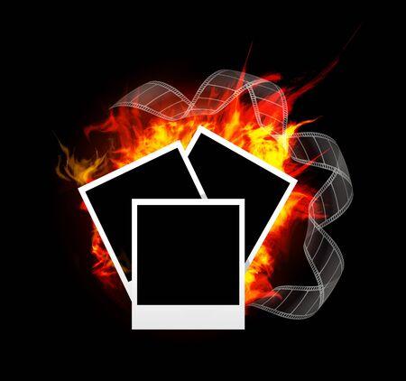 Burning photo frame Vector
