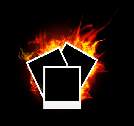 Burning photo frame Stock Vector - 11662493