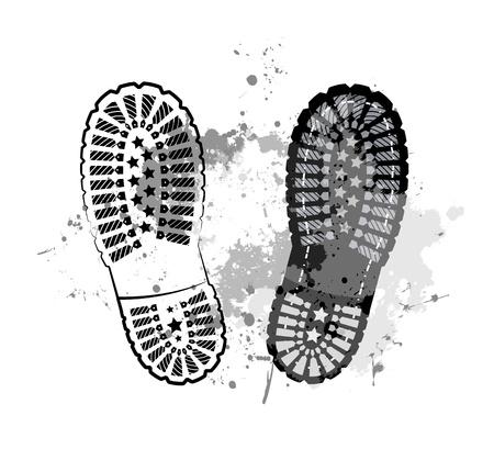 iszapos: Fekete nyomvonal láb Illusztráció
