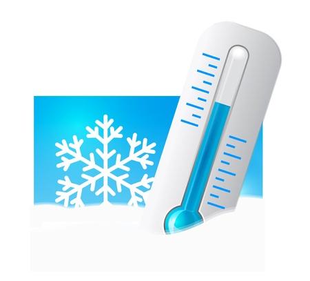 resfriado: Term�metro en la nieve