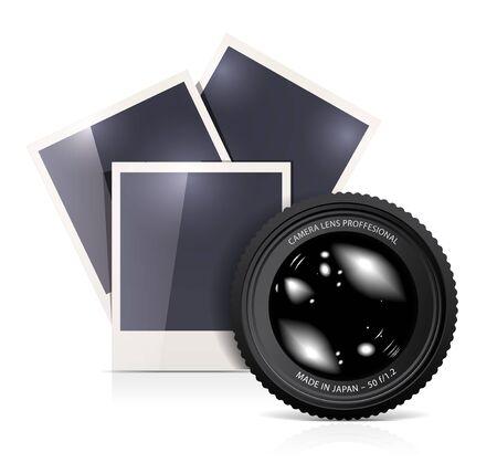 Lens with photo frame on white Stock Photo - 12156786