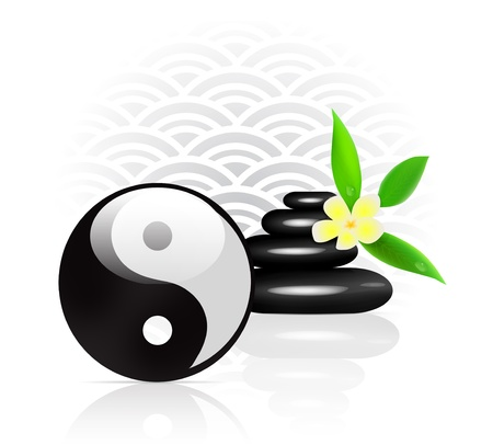 feng shui: Feng Shui background with Yin Yang symbol Illustration