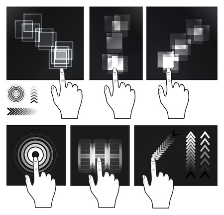 index finger: Touch screen gesture, interface Illustration