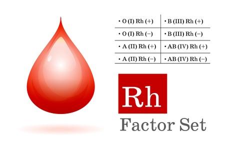 erythrocyte: Fattore Rh e la goccia di sangue Vettoriali