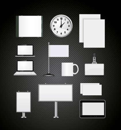 cd case: Conjunto de ilustraci�n vectorial de la identidad corporativa de plantillas en negro