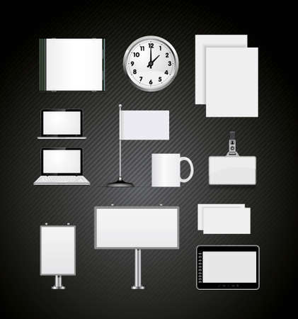 Set of corporate identity templates vector illustration on black Vector