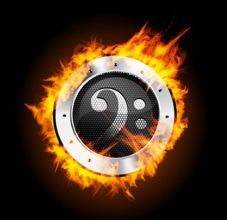hi end: Loudspeaker on Fire Isolated