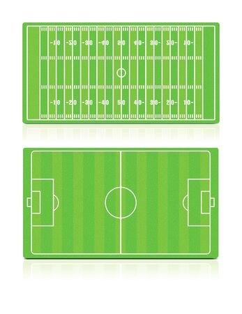 field goal: Sport Fields set with grass Illustration