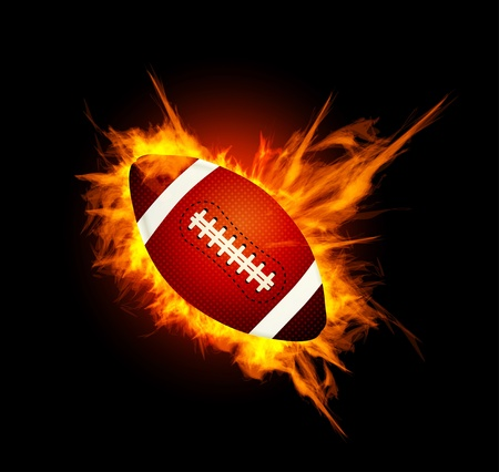 throwing ball: Realistic American football in the fire Illustration
