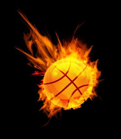 ballon basketball: Balle de basket-ball sur le feu