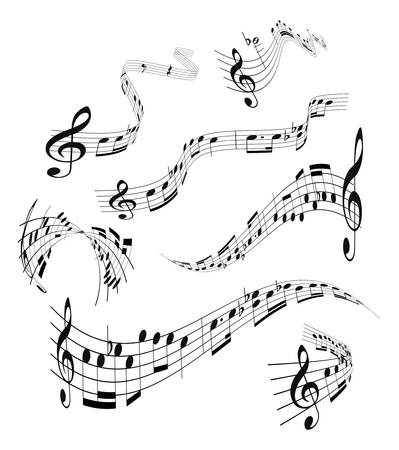 musical instrument parts: Set of musical notes staff Illustration