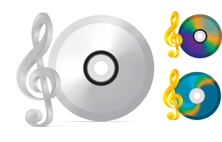 compact disc with treble clef on white background Stock Vector - 13400676