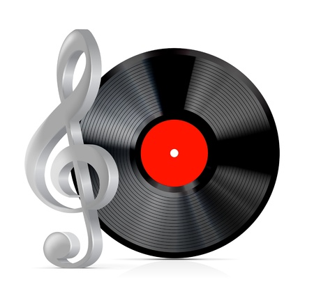 vinyl disk player: vinyl record plate with treble clef on white