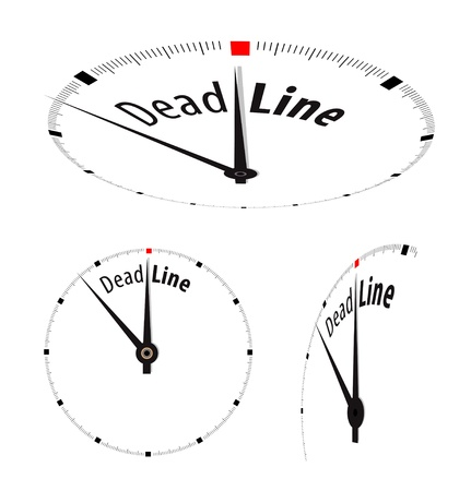 White clock with word Deadline on its face Vector