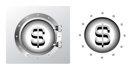 bank vault: Dollar symbol and banking safe
