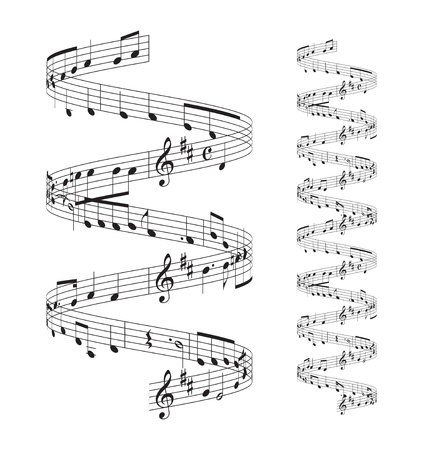 musical notes staff set on white background Vector