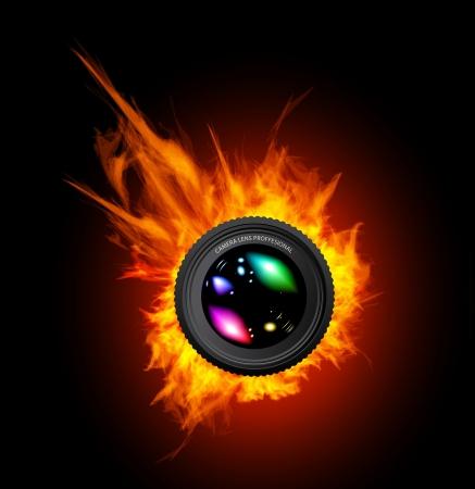 camara: La quema de la lente de la c�mara. EPS 10 con la transparencia.