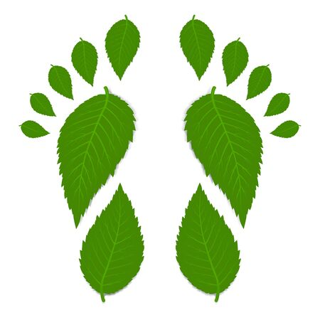 carbon footprint: Green footprint Illustration