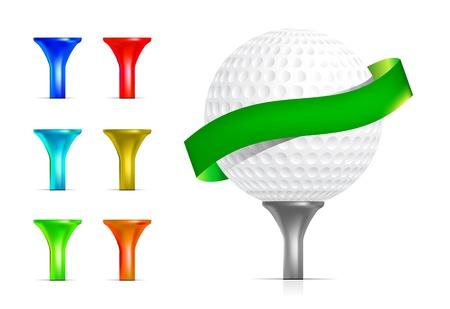 golf stick: Pelota de golf aislado en blanco Vectores