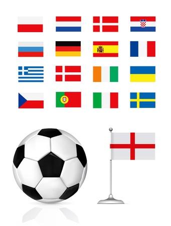 uefa: Fu�ball-Kugel und Fahne