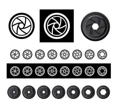 photography icons: camera shutter apertures
