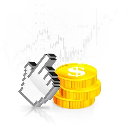 Un cursore con le monete Vettoriali