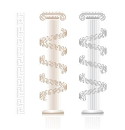 hellenistic: Ionic Column with Greek key pattern