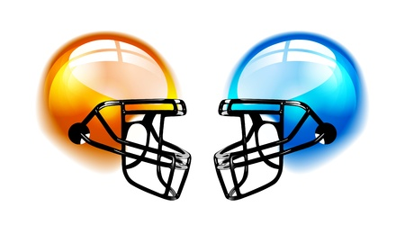 football kick: Football Helmets on white