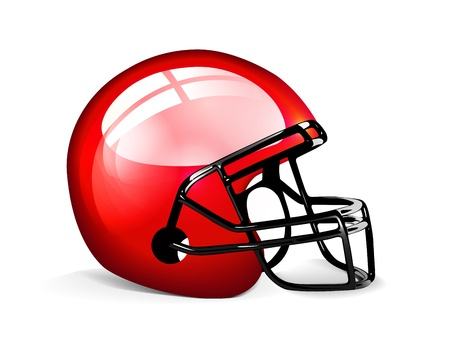 casco rojo: Red casco de fútbol americano