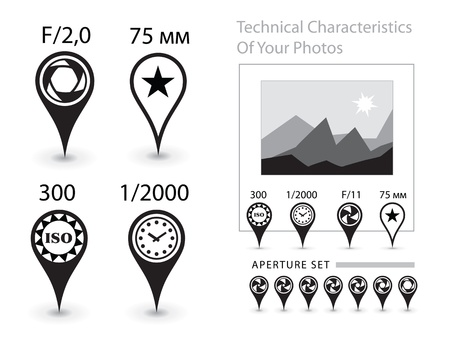 Characteristics of the photographs Vector