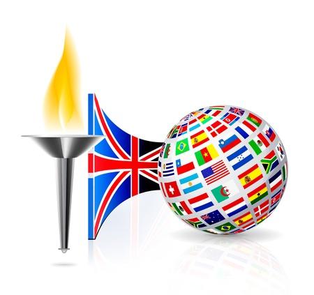 lighting column: England flag with torch Illustration