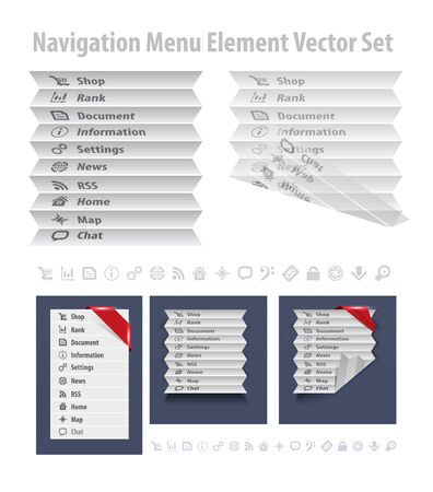 Folded navigation menu Vector