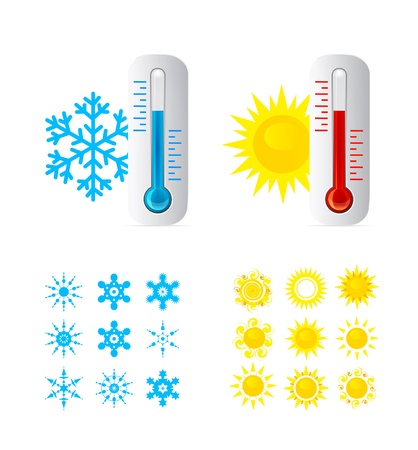 resfriado: Term�metro de fr�o y calor la temperatura Vectores