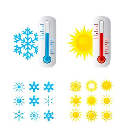 Thermometer Hete en koude temperatuur Vector Illustratie
