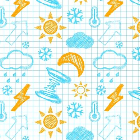 granizados: El tiempo dibujado a mano patrón transparente Vectores