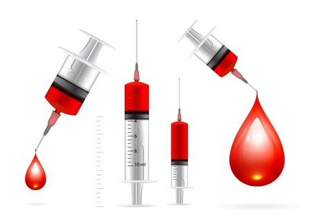 injectie: Bloeddruppel en spuit Stock Illustratie