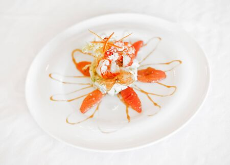 shrimp salad on a plate on a white background Stock Photo - 15217859