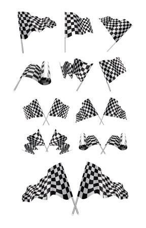 checker flag: Banderas a cuadros establecer